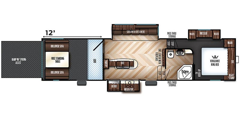 2019 Forest River Vengeance Toy Hauler Floorplans
