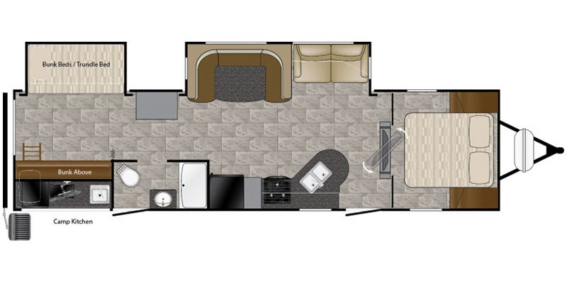 Find Specs for 2017 Heartland - Prowler <br>Floorplan: 32P BHS (Travel Trailer)