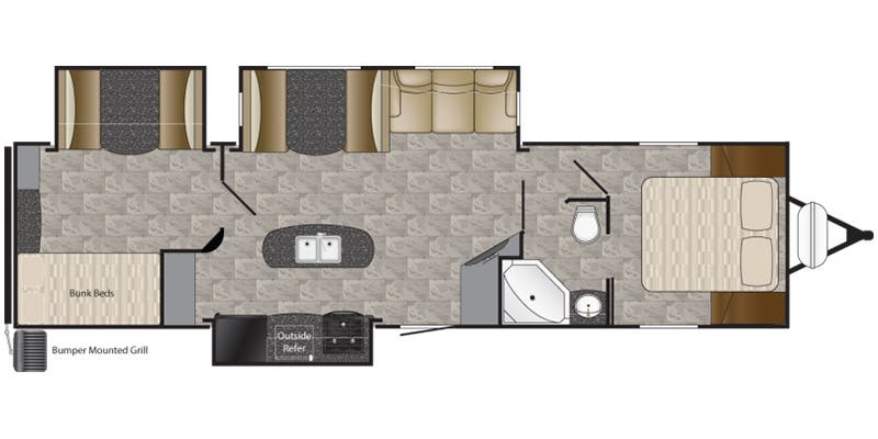 Find Specs for 2017 Heartland - Prowler <br>Floorplan: 33P BHS (Travel Trailer)