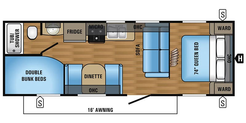 Find Specs for 2017 Jayco - Jay Flight <br>Floorplan: 26BH (Travel Trailer)