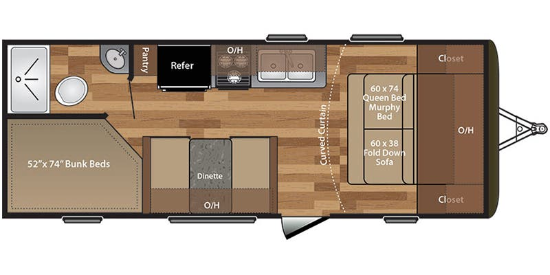 Find Specs for 2017 Keystone - Hideout <br>Floorplan: 21LHSWE (Travel Trailer)