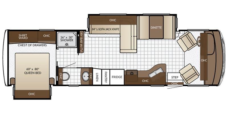 Find Specs for 2017 Newmar - Bay Star Sport <br>Floorplan: 3208 (Class A)