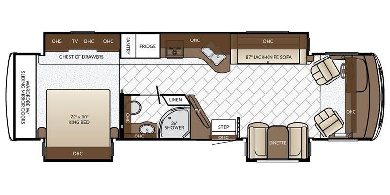 Find Specs for 2017 Newmar - Bay Star <br>Floorplan: 3516 (Class A)