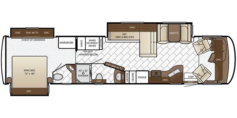 Find Specs for 2017 Newmar - Canyon Star <br>Floorplan: 3902 (Class A)