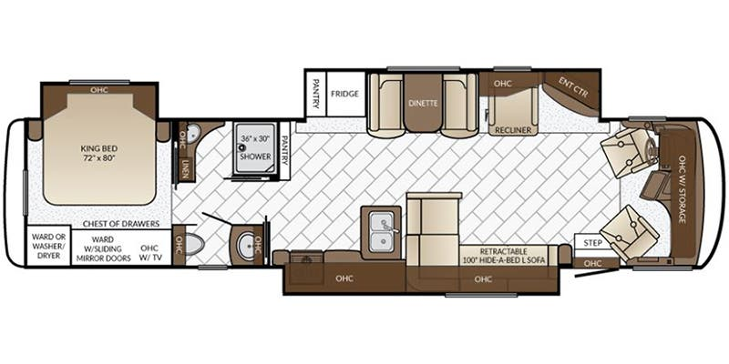 Find Specs for 2017 Newmar - Canyon Star <br>Floorplan: 3914 (Class A)