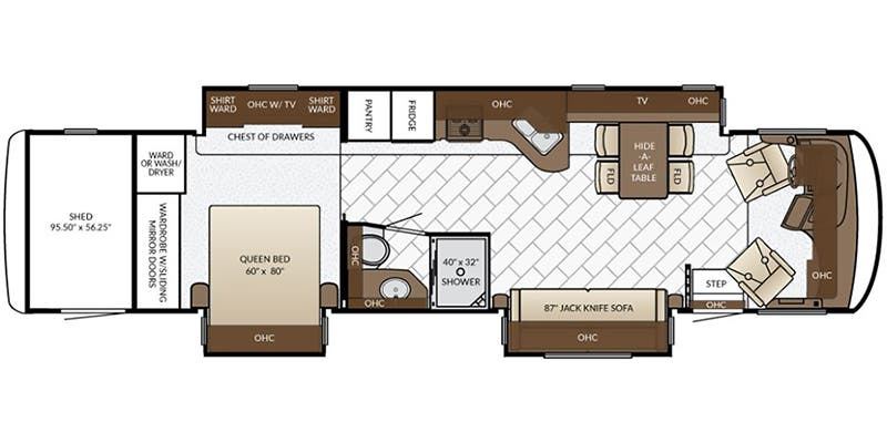 Find Specs for 2017 Newmar - Canyon Star <br>Floorplan: 3923 (Toy Hauler)