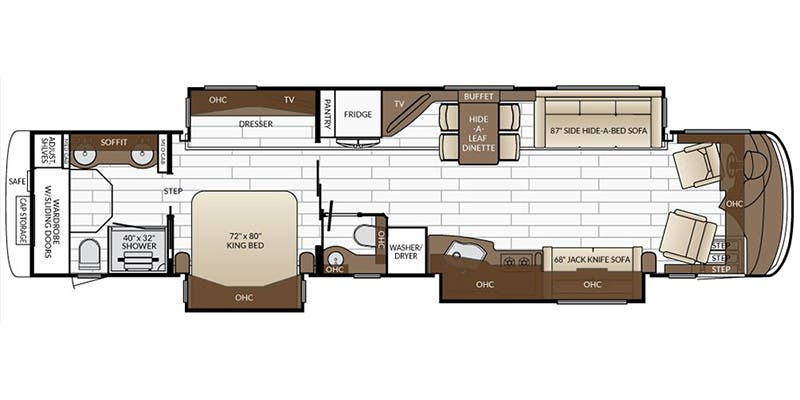 Find Specs for 2017 Newmar - Essex <br>Floorplan: 4584 (Class A)