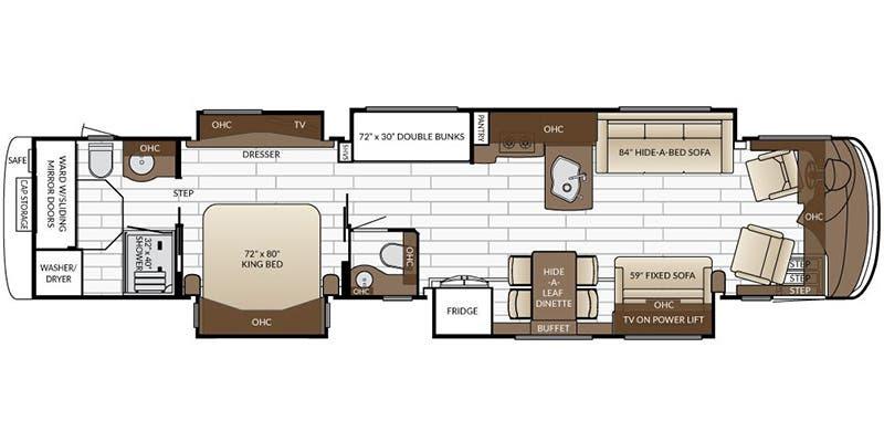 Find Specs for 2017 Newmar - Essex <br>Floorplan: 4598 (Class A)