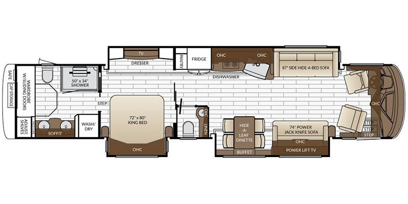 Find Specs for 2017 Newmar - King Aire <br>Floorplan: 4533 (Class A)