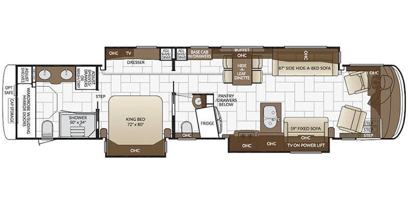 Find Specs for 2017 Newmar - London Aire <br>Floorplan: 4513 (Class A)