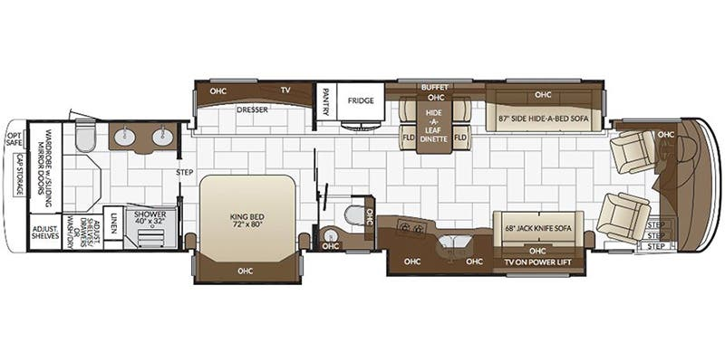 Find Specs for 2017 Newmar - London Aire <br>Floorplan: 4553 (Class A)