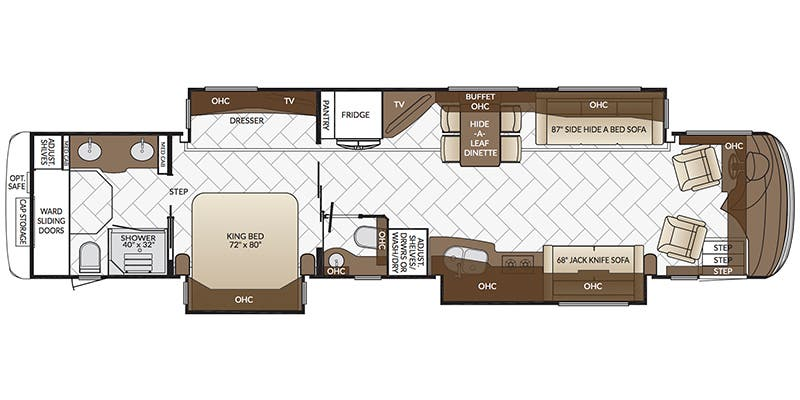 Find Specs for 2017 Newmar - Mountain Aire <br>Floorplan: 4584 (Class A)