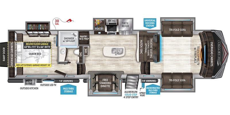 Find Specs for 2019 Grand Design - Momentum <br>Floorplan: 376TH (Toy Hauler)