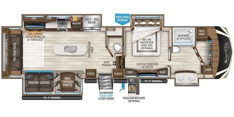 Find Specs for 2019 Grand Design - Solitude <br>Floorplan: 373FB-R (Fifth Wheel)