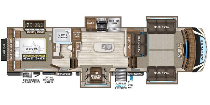Find Specs for 2018 Grand Design - Solitude <br>Floorplan: 374TH (Toy Hauler)