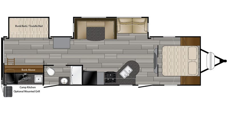 Find Specs for 2018 Heartland - Prowler <br>Floorplan: 32P BHS (Travel Trailer)