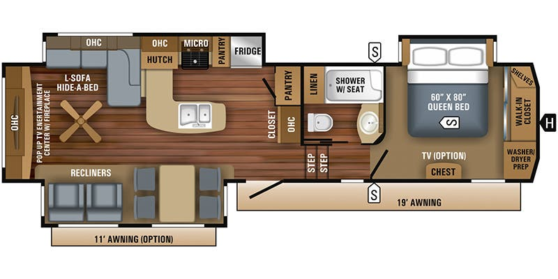 Pinnacle Kpts Interior likewise Jayco Whitehawk Bhs further Jayco Siesmicwave W Rear X also W moreover Ff D Fea A Faa D Sleeping Loft Rv Trailer. on jayco toy hauler floor plans