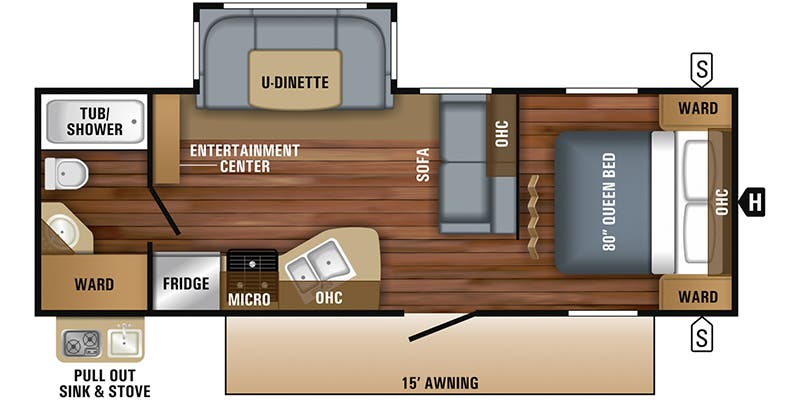 Find Specs for 2018 Jayco - Jay Flight <br>Floorplan: 24RBS (Travel Trailer)