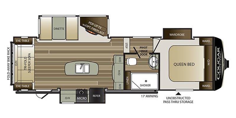 Find Specs for 2019 Keystone - Cougar Half-Ton <br>Floorplan: 27RLS (Fifth Wheel)