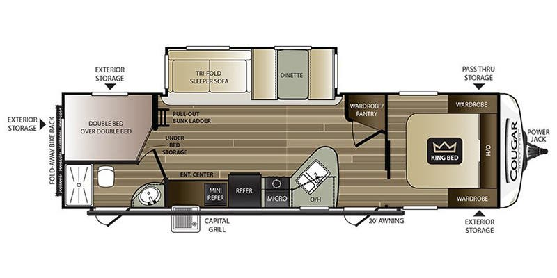 Find Specs for 2018 Keystone - Cougar Half-Ton <br>Floorplan: 29BHS (Travel Trailer)