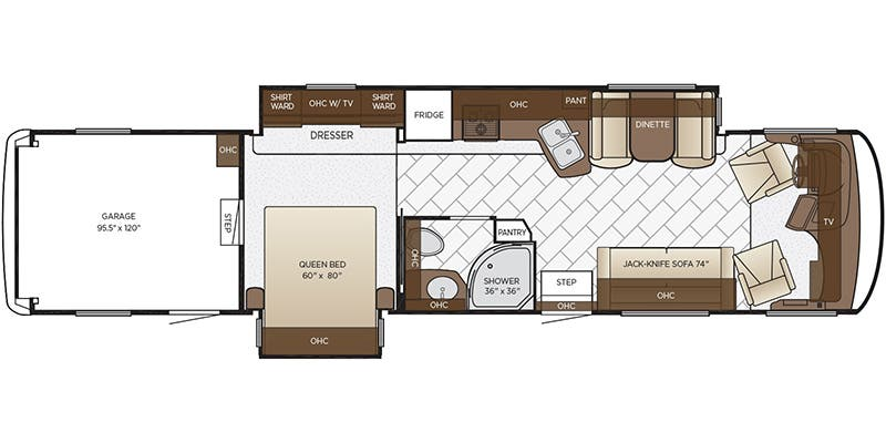 Find Specs for 2018 Newmar - Canyon Star <br>Floorplan: 3921 (Toy Hauler)