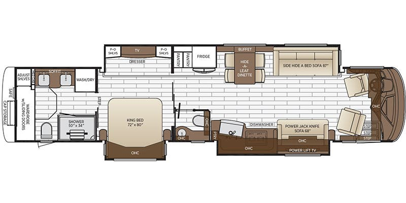 Find Specs for 2018 Newmar - King Aire <br>Floorplan: 4531 (Class A)