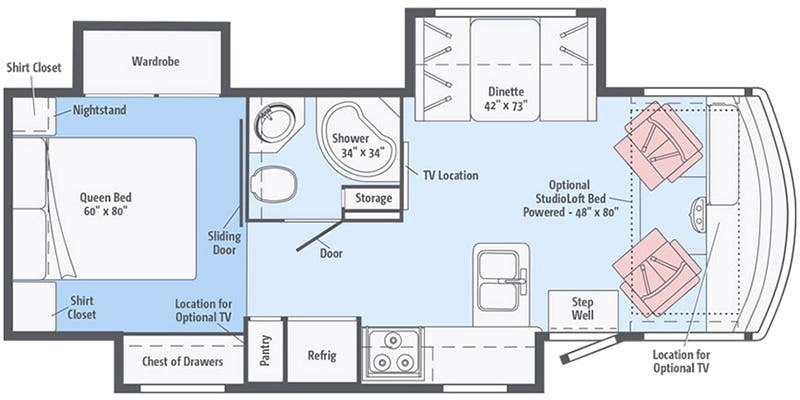 Find Specs for 2018 Winnebago - Sunstar LX <br>Floorplan: 27N (Class A)
