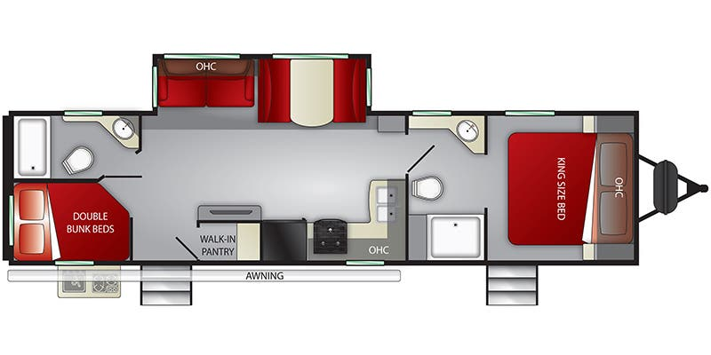 Find Specs for 2019 Cruiser RV - MPG <br>Floorplan: MPG 3200DB (Travel Trailer)