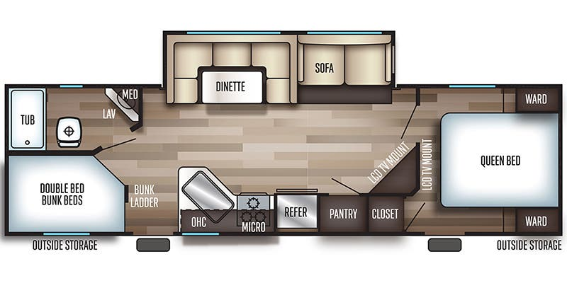 Find Specs for 2019 Forest River - Cherokee <br>Floorplan: 264DBH (Travel Trailer)