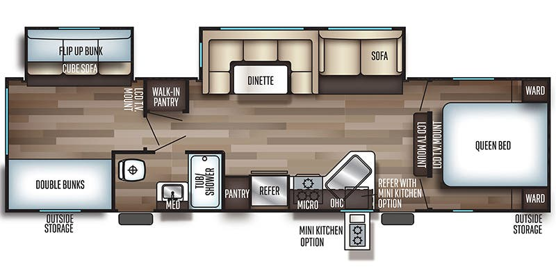 Find Specs for 2019 Forest River - Cherokee <br>Floorplan: 294BH (Travel Trailer)