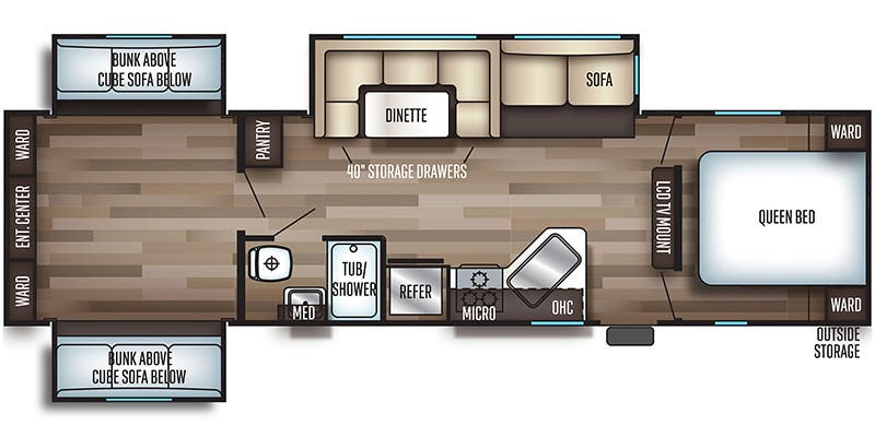 Find Specs for 2019 Forest River - Cherokee <br>Floorplan: 304BS (Travel Trailer)