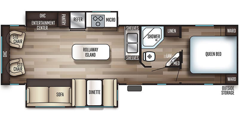 Find Specs for 2019 Forest River - Cherokee <br>Floorplan: 304R (Travel Trailer)