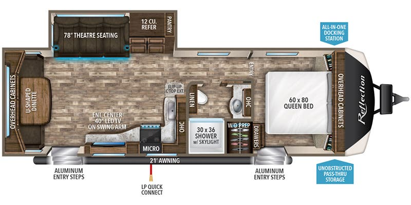 Find Specs for 2019 Grand Design - Reflection <br>Floorplan: 287RLTS (Travel Trailer)