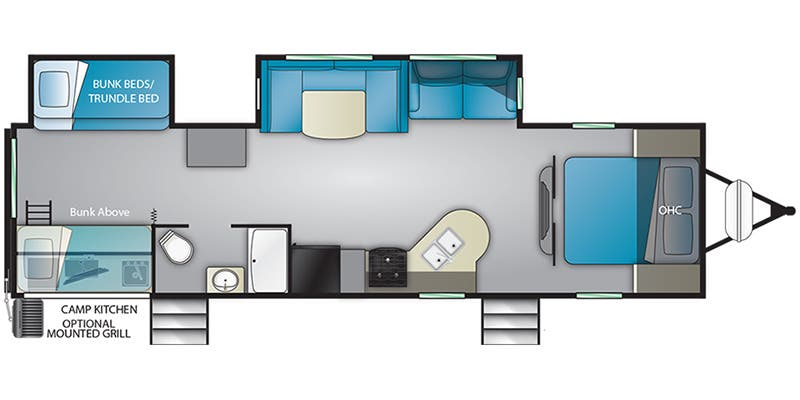 Find Specs for 2019 Heartland - Prowler <br>Floorplan: 32P BHS (Travel Trailer)