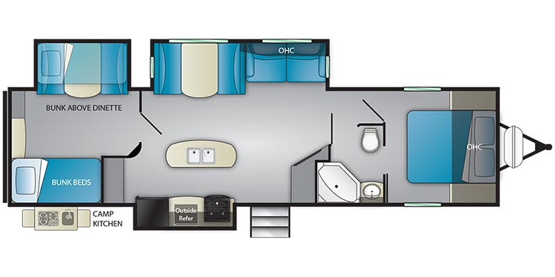Find Specs for 2020 Heartland - Prowler <br>Floorplan: 330BH (Travel Trailer)