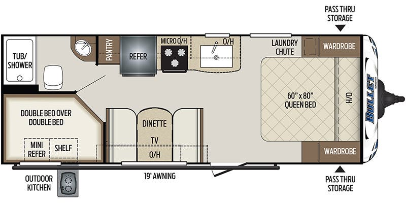 Find Specs for 2020 Keystone - Bullet <br>Floorplan: 211BHSWE (Travel Trailer)