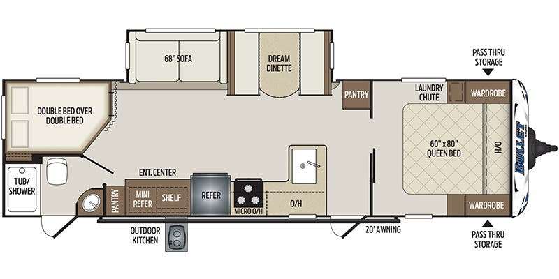 Find Specs for 2019 Keystone - Bullet <br>Floorplan: 290BHSWE (Travel Trailer)