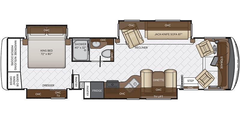 Find Specs for 2019 Newmar - Canyon Star <br>Floorplan: 3719 (Class A)