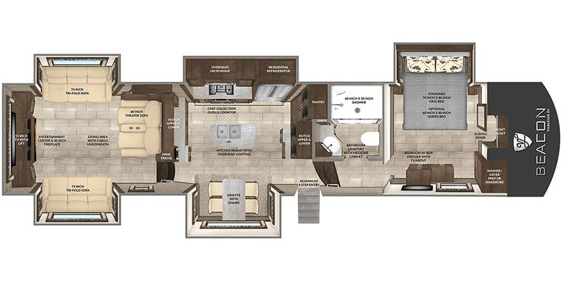 Find Specs for 2019 Vanleigh - Beacon <br>Floorplan: 42 RDB (Fifth Wheel)