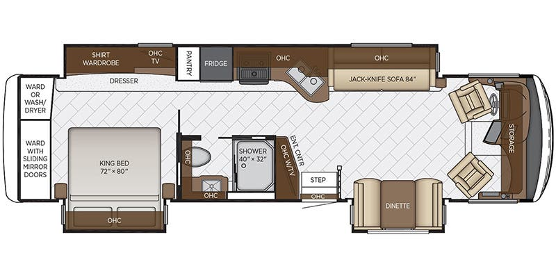 Find Specs for 2020 Newmar - Canyon Star <br>Floorplan: 3513 (Class A)