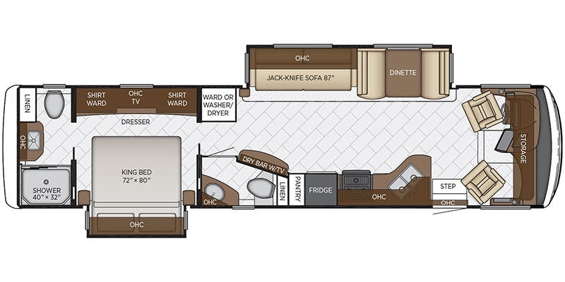 Find Specs for 2020 Newmar - Canyon Star <br>Floorplan: 3710 (Class A)