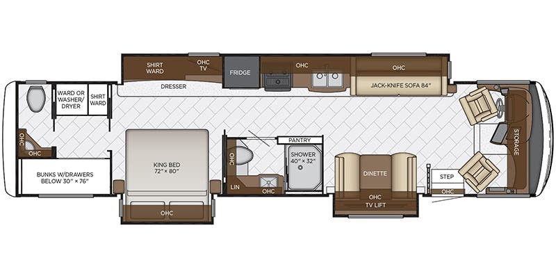 Find Specs for 2020 Newmar - Canyon Star <br>Floorplan: 3929 (Class A)