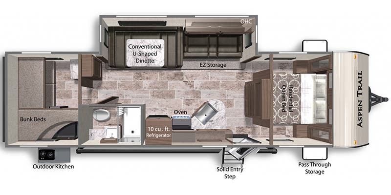 Find Specs for 2021 Dutchmen - Aspen Trail <br>Floorplan: 2910BHS (Travel Trailer)